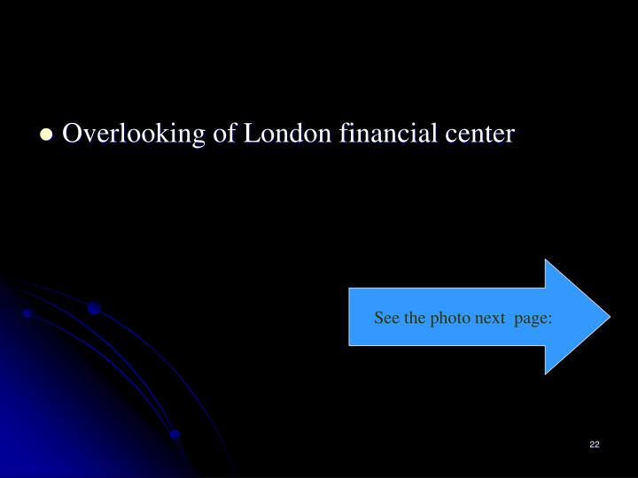 Overlooking of London financial center