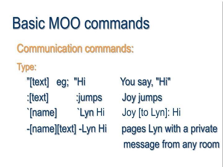 Basic MOO commands