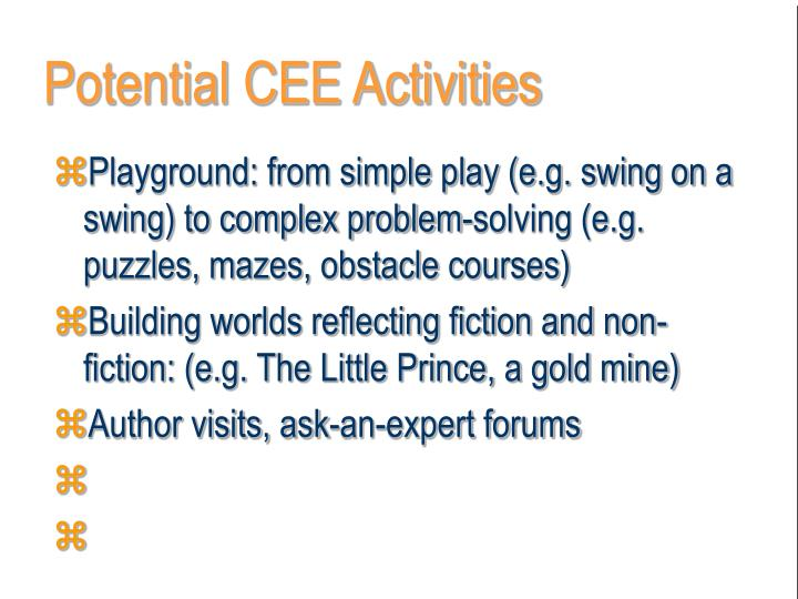 Potential CEE Activities