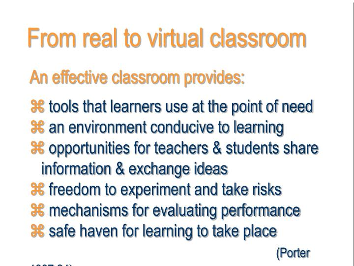 From real to virtual classroom