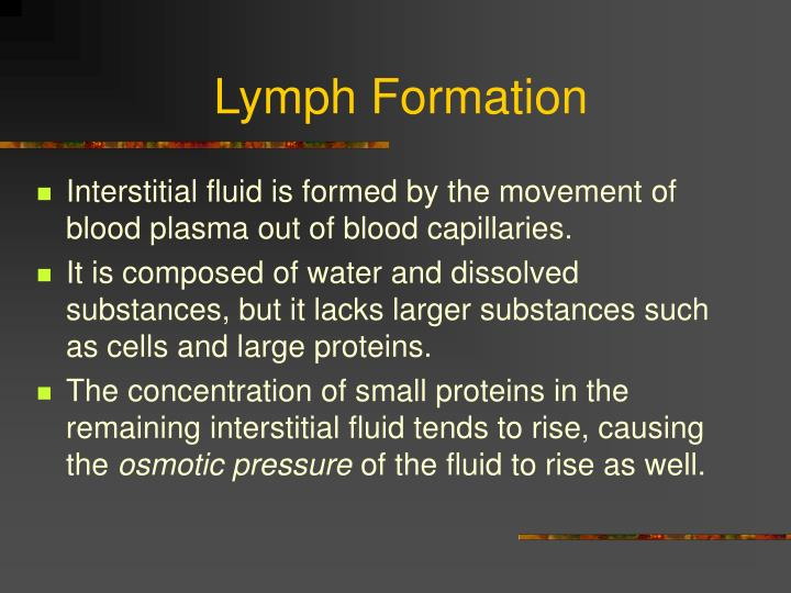 Lymph Formation