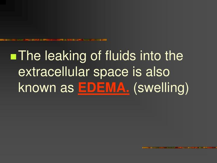The leaking of fluids into the extracellular space is also known as