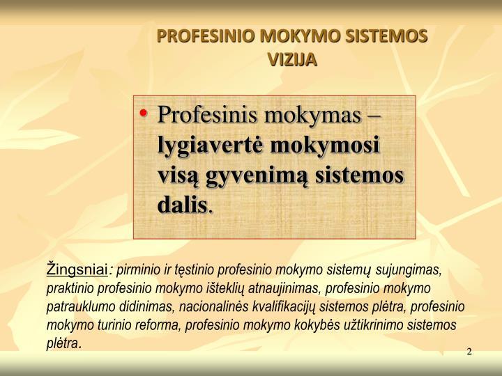PROFESINIO MOKYMO SISTEMOS VIZIJA