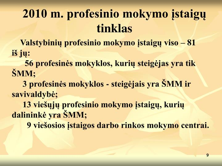 2010 m. profesinio mokymo įstaigų tinklas