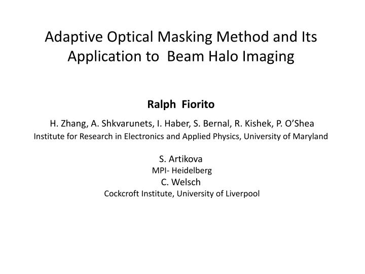 Adaptive optical masking method and its application to beam halo imaging