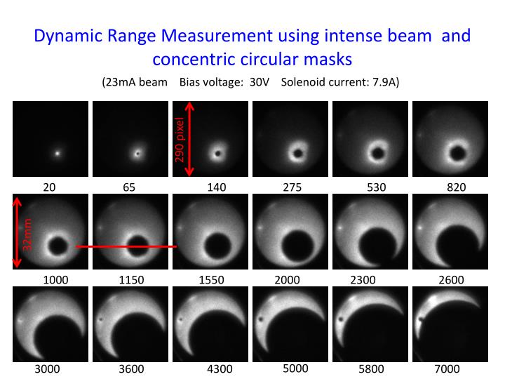Dynamic Range Measurement using intense beam  and concentric circular masks