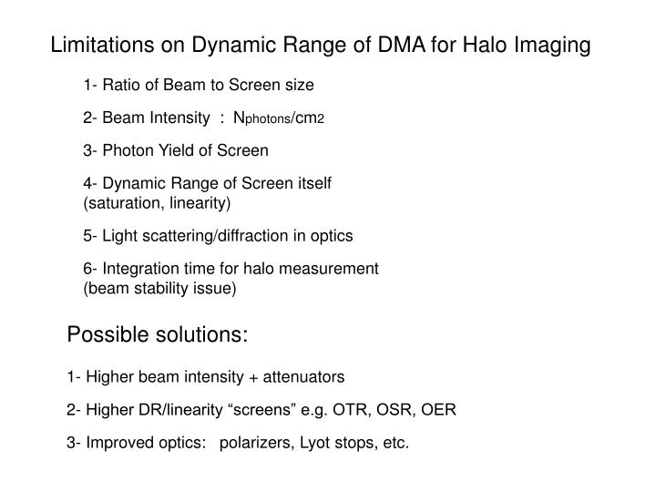 Limitations on Dynamic Range of DMA for Halo Imaging