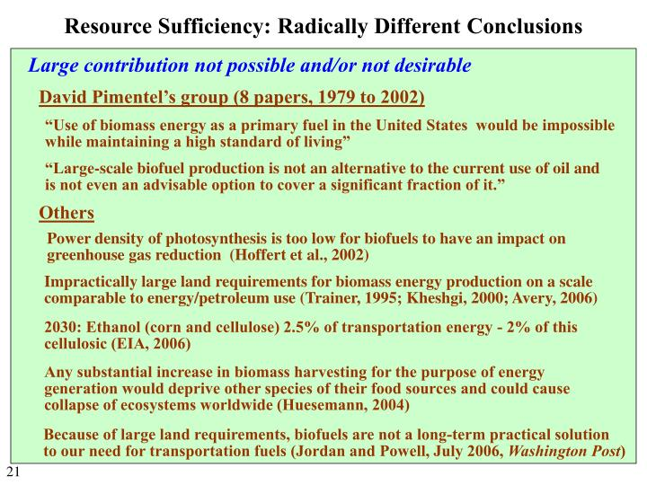 Resource Sufficiency: Radically Different Conclusions