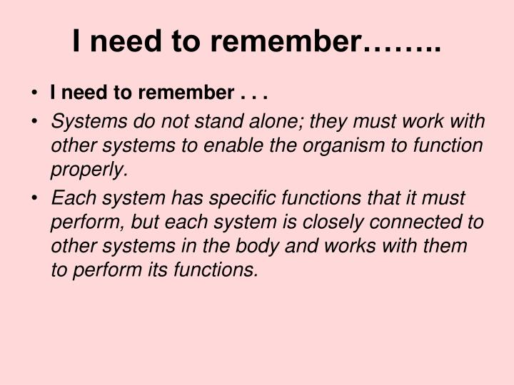 I need to remember……..