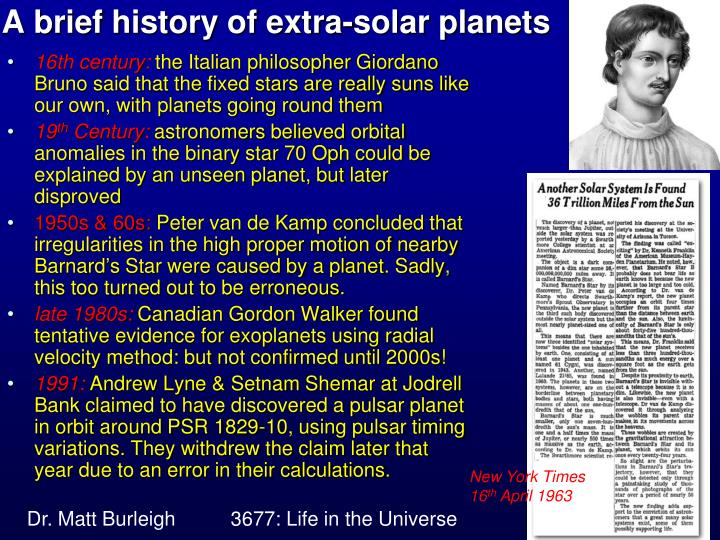 A brief history of extra-solar planets