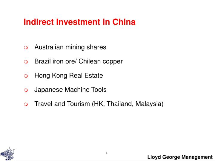Indirect Investment in China