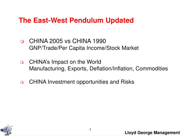 The east west pendulum updated