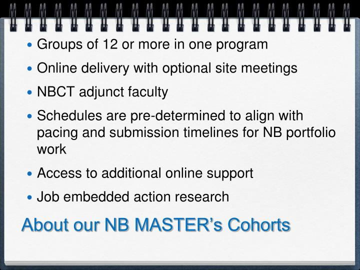 About our NB MASTER's Cohorts