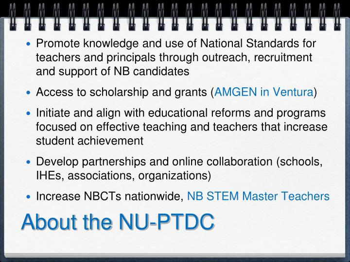 About the NU-PTDC