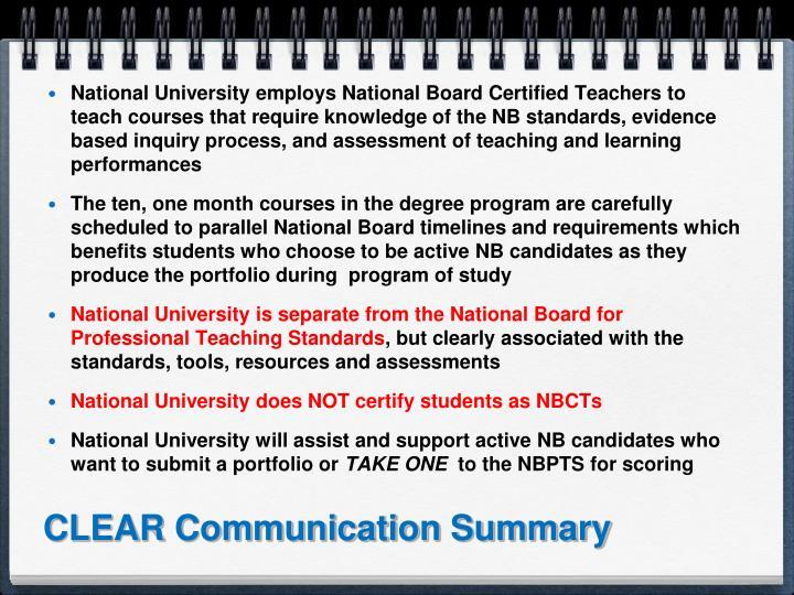 CLEAR Communication Summary