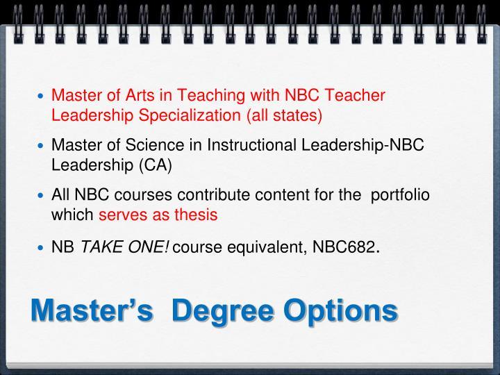 Master's  Degree Options