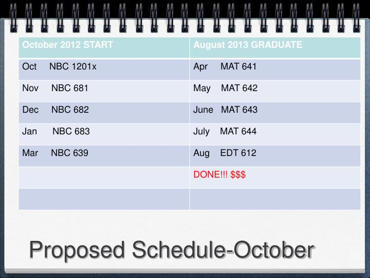Proposed Schedule-October