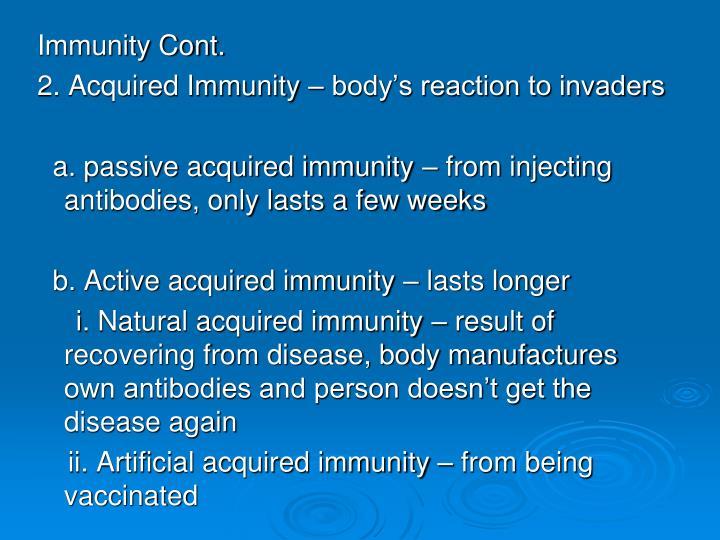 Immunity Cont.