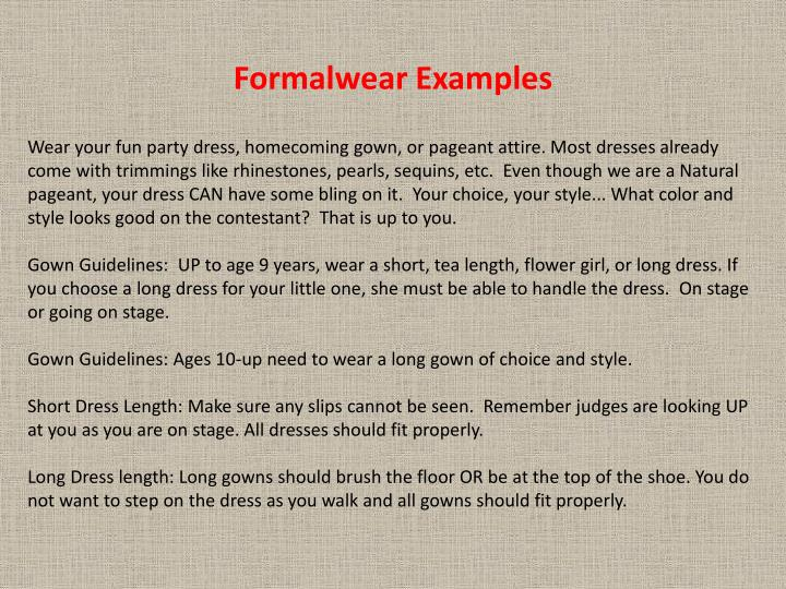 Formalwear Examples