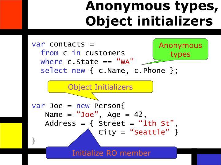 Anonymous types,
