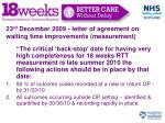 23 rd december 2009 letter of agreement on waiting time improvements measurement
