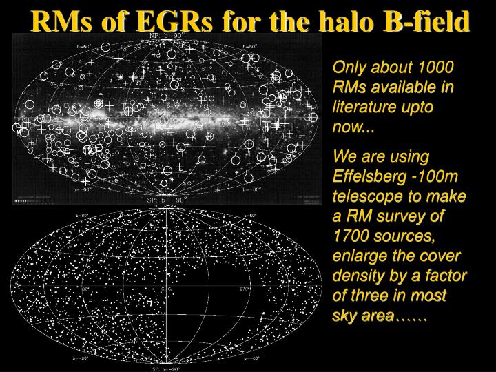 RMs of EGRs for the halo B-field
