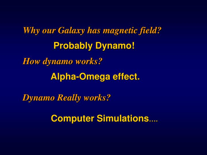 Why our Galaxy has magnetic field?