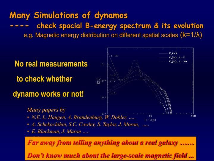 Many Simulations of dynamos