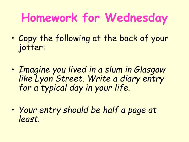 Homework for Wednesday