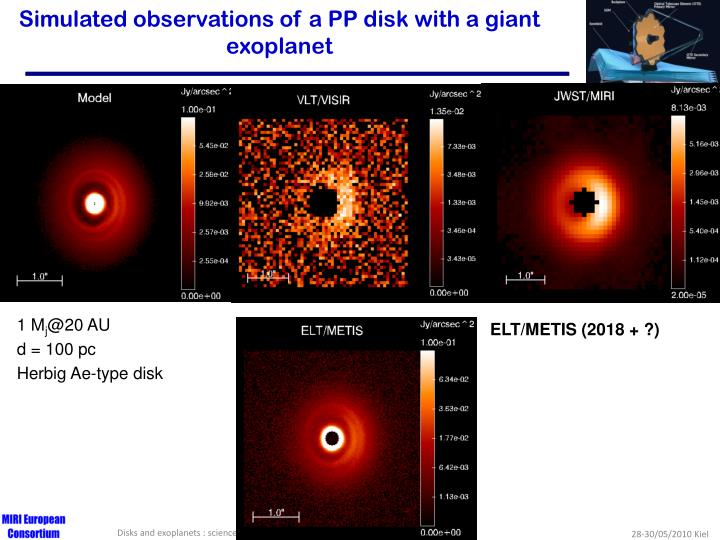 Simulated observations of a PP disk with a giant exoplanet