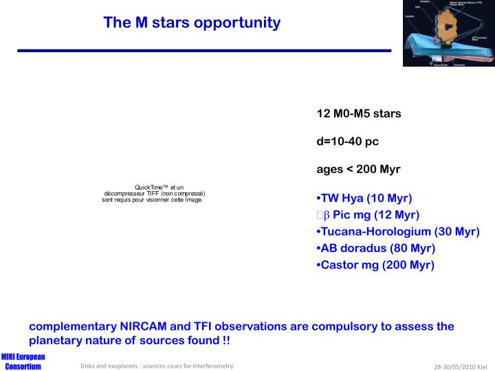 The M stars opportunity