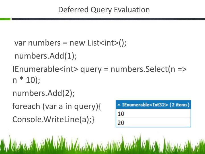 Deferred Query Evaluation