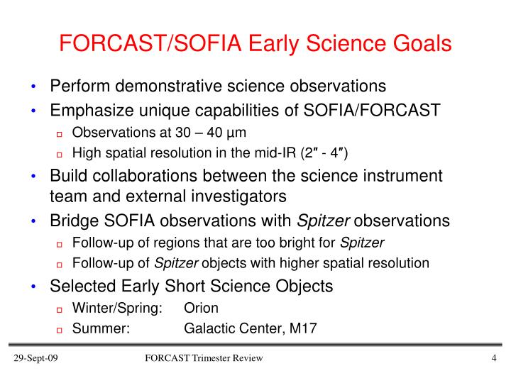 FORCAST/SOFIA Early Science Goals
