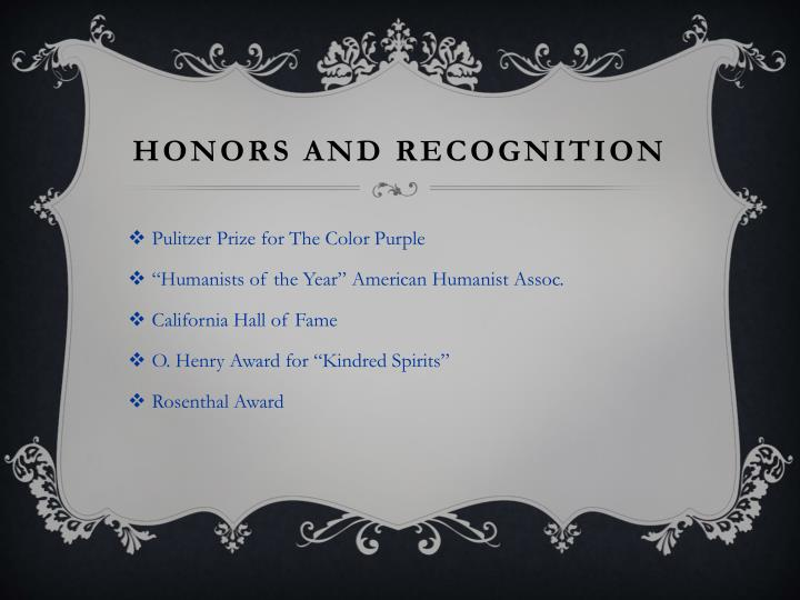 Honors and Recognition