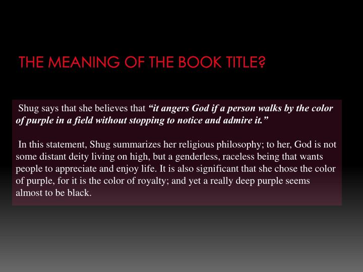 The meaning of the book title?