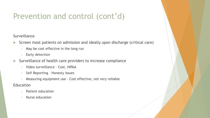 Prevention and control (cont'd)
