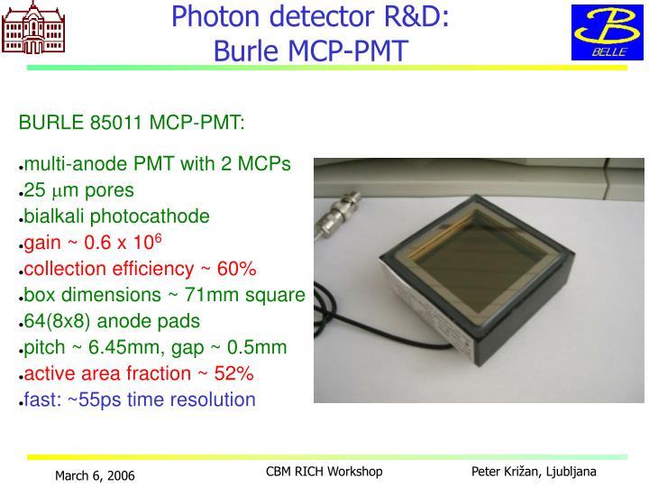 Photon detector R&D: Burle MCP-PMT