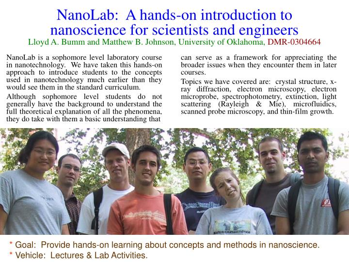 NanoLab:  A hands-on introduction to nanoscience for scientists and engineers