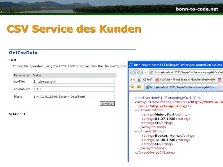CSV Service des Kunden