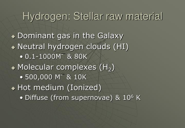 Hydrogen: Stellar raw material