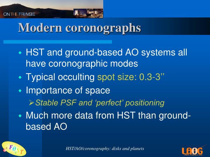 Modern coronographs