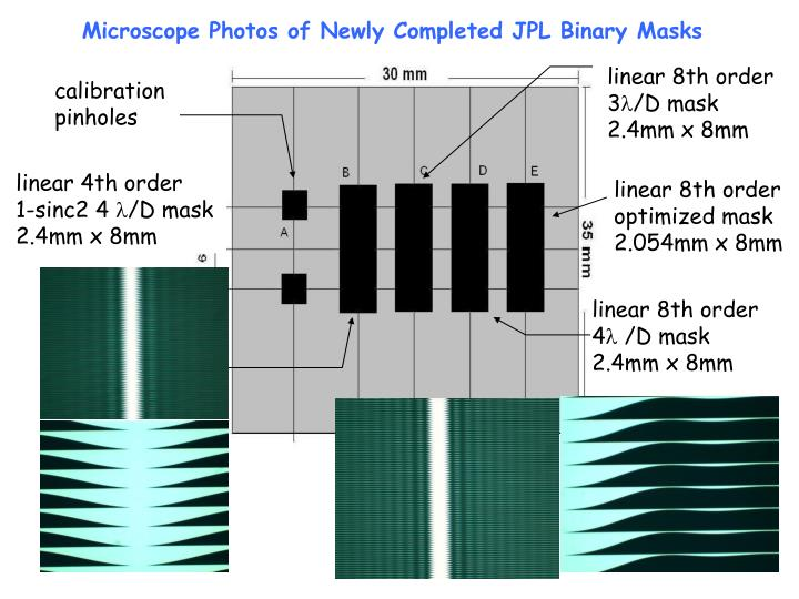 Microscope Photos of Newly Completed JPL Binary Masks
