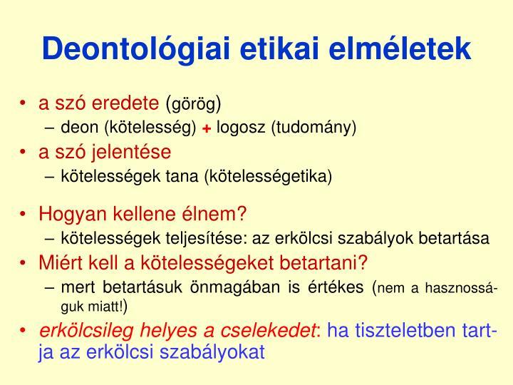 Deontológiai etikai elméletek