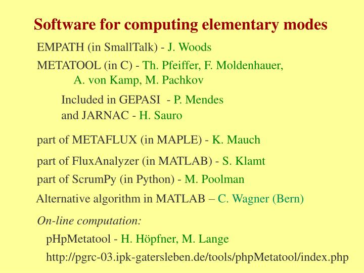 Software for computing elementary modes