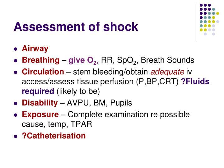 Assessment of shock