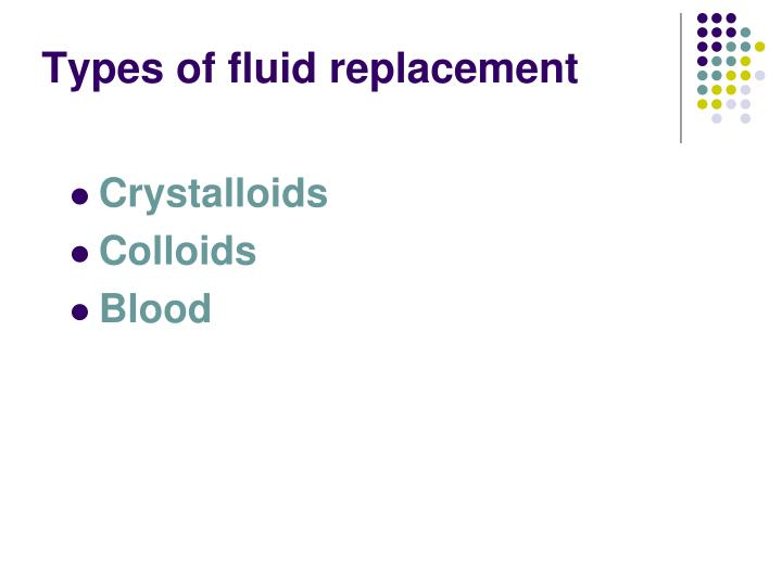 Types of fluid replacement