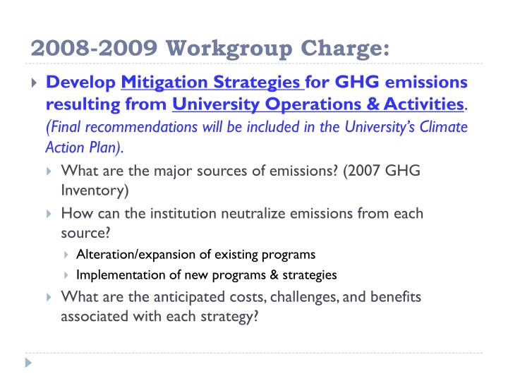 2008-2009 Workgroup Charge: