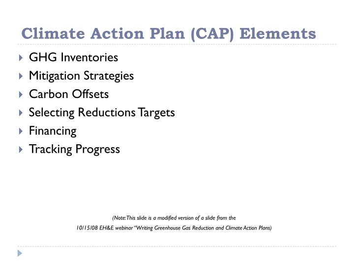 Climate Action Plan (CAP) Elements