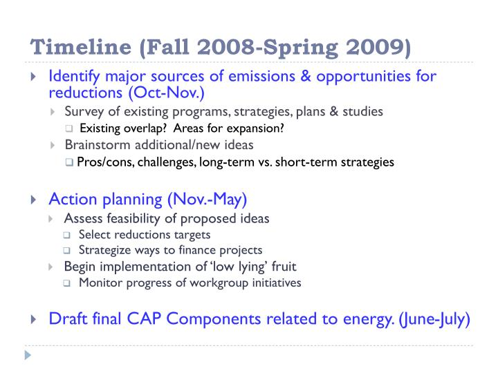 Timeline (Fall 2008-Spring 2009)