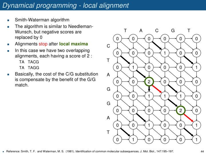 Dynamical programming - local alignment